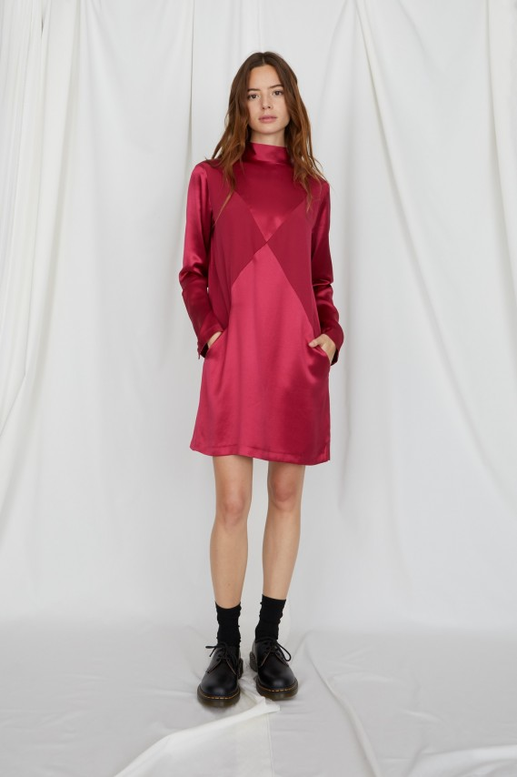 Eve raspberry satin dress