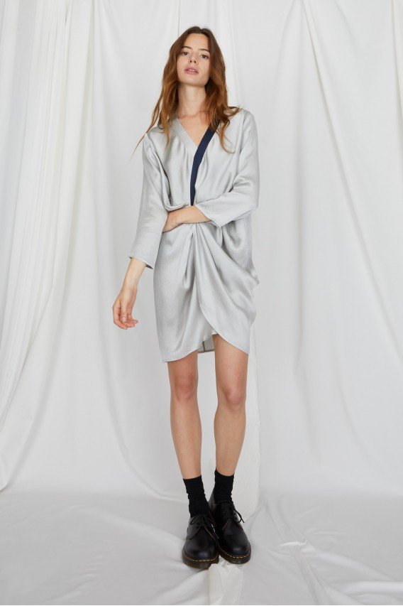 Maé grey silk dress